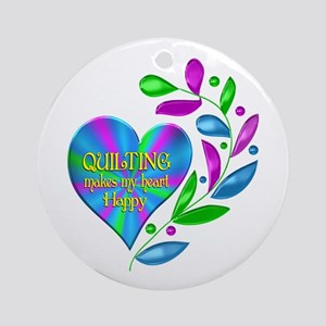 Quilting Happy Heart Round Ornament