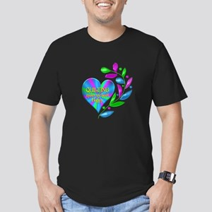 Quilting Happy Heart Men's Fitted T-Shirt (dark)