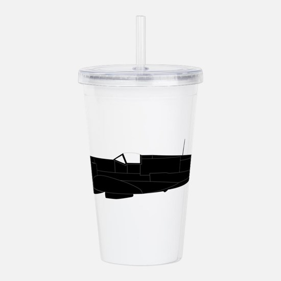 Fighter Plane Silhouet Acrylic Double-wall Tumbler
