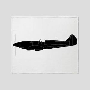 Fighter Plane Silhouette Throw Blanket