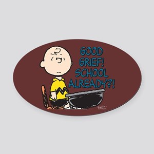 Charlie Brown - Good Grief! School Oval Car Magnet