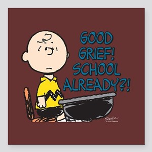 "Charlie Brown - Good Gri Square Car Magnet 3"" x 3"""