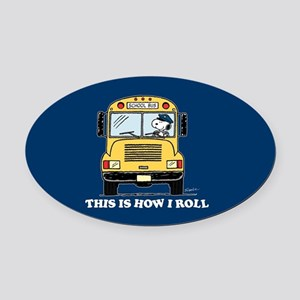 Snoopy - This Is How I Roll Oval Car Magnet