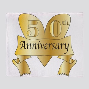50th Anniversary Heart Throw Blanket