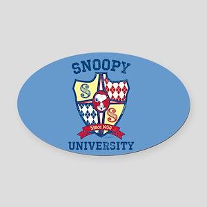 Snoopy University Oval Car Magnet