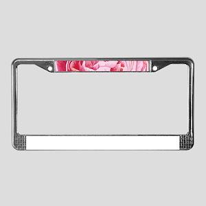 Elegant Pink Peony Flowers Clo License Plate Frame