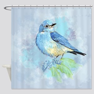 Watercolor Bluebird Blue Bird Art Shower Curtain