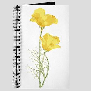Watercolor California Poppy Yellow Green F Journal