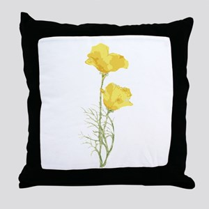 Watercolor California Poppy Yellow Green Flower Th