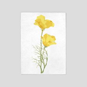 Watercolor California Poppy Yellow 5'x7'ar