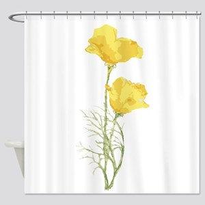 Watercolor California Poppy Yellow Green Flower Sh