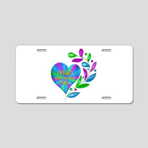 Opera Happy Heart Aluminum License Plate