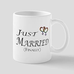Just Married (Finally) Lesbian Pride Mugs