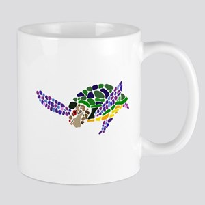 Colorful Sea Turtle Abstract Mugs