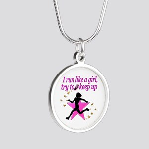 TRACK STAR Silver Round Necklace