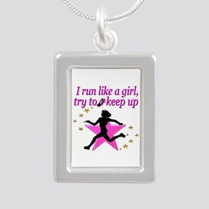 TRACK STAR Silver Portrait Necklace
