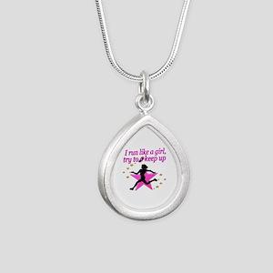 TRACK STAR Silver Teardrop Necklace