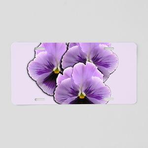 Purple Pansies Aluminum License Plate