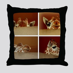 Giraffe Collage Throw Pillow