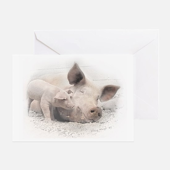 Pig Happy Greeting Card