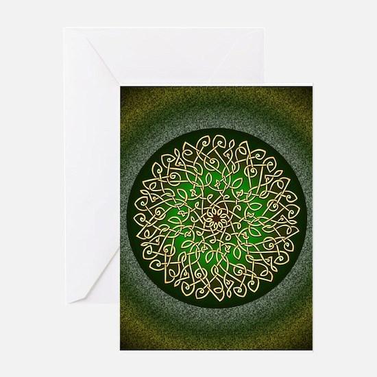 Sage Celtic Burst Greeting Cards