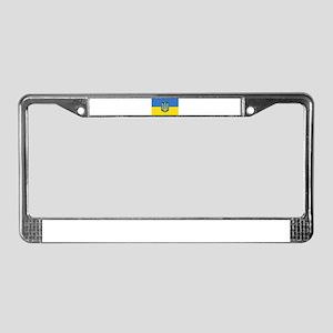 Ukrainian flag, trizub License Plate Frame