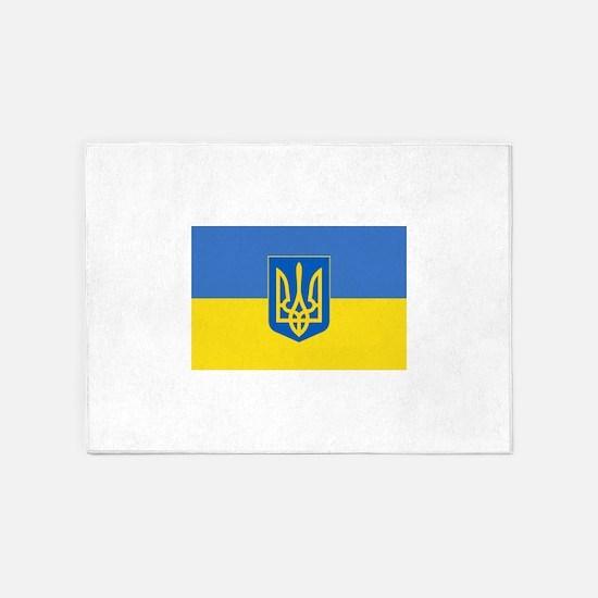 Ukrainian flag, trizub 5'x7'Area Rug