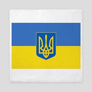 Ukrainian flag, trizub Queen Duvet