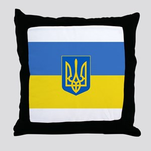 Ukrainian flag, trizub Throw Pillow
