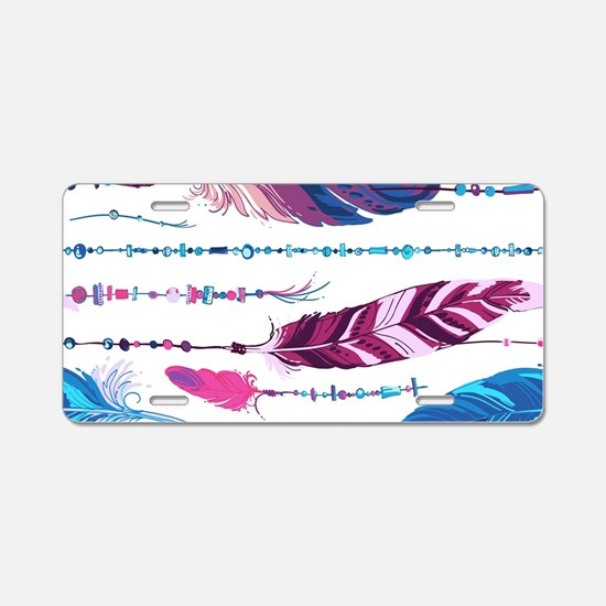 Tribal Feathers Aluminum License Plate