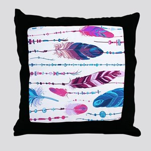 Tribal Feathers Throw Pillow