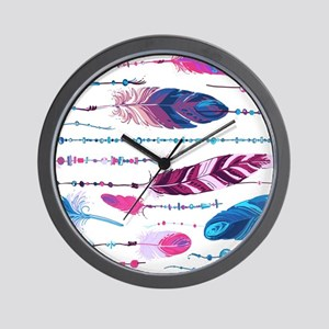 Tribal Feathers Wall Clock
