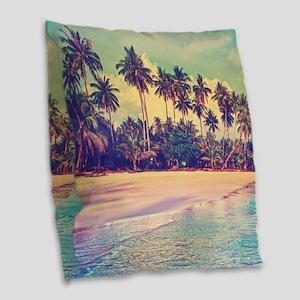 Tropical Island Burlap Throw Pillow