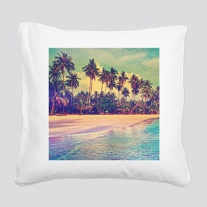 Tropical Island Square Canvas Pillow