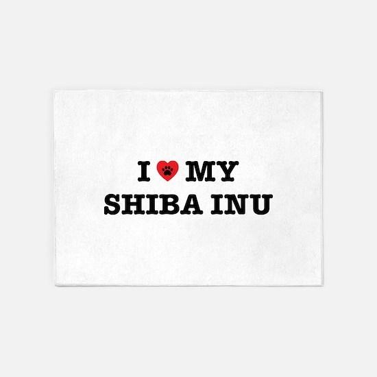 I Heart My Shiba Inu 5'x7'Area Rug