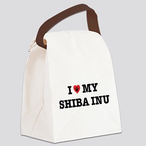 I Heart My Shiba Inu Canvas Lunch Bag