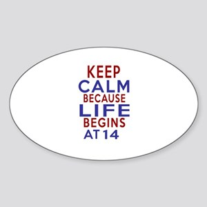 Life Begins At 14 Sticker (Oval)