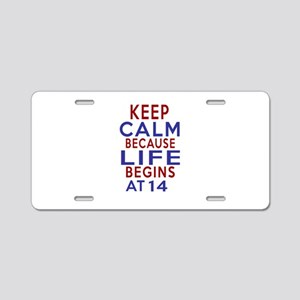 Life Begins At 14 Aluminum License Plate