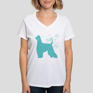 Afghan Hound Snowflake Women's V-Neck T-Shirt