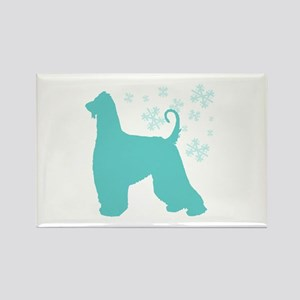 Afghan Hound Snowflake Rectangle Magnet