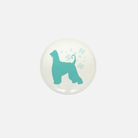 Afghan Hound Snowflake Mini Button