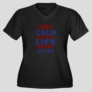 Life Begins Women's Plus Size V-Neck Dark T-Shirt