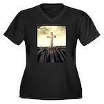 Christian Cross On Mountain Plus Size T-Shirt