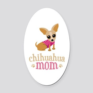Chihuahua Mom Oval Car Magnet