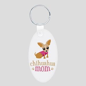 Chihuahua Mom Aluminum Oval Keychain