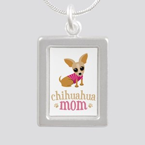 Chihuahua Mom Silver Portrait Necklace