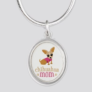 Chihuahua Mom Silver Oval Necklace