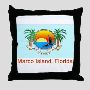 Marco Island FL Flag Throw Pillow