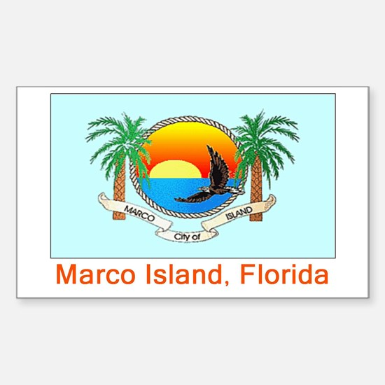 Marco Island FL Flag Rectangle Decal