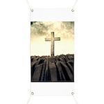 Christian Cross On Mountain Banner